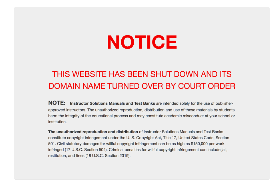 "Seized website notice states "" THIS WEBSITE HAS BEEN SHUT DOWN AND ITS DOMAIN NAME TURNED OVER BY COURT ORDER"""